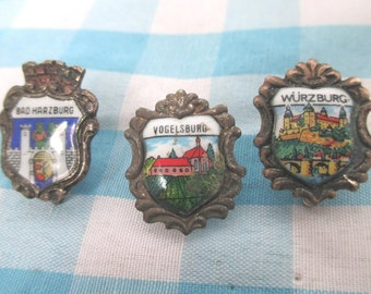 Castle Pin Badges Germany Souvenir Hatpins City Shield Brooches Enamelled Silver Metal Hat Pin Gifts Ideas Wurzburg Vogelsburg  1970s 1960s