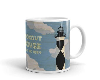 Gifts for Dad- Lighthouse Coffee Mug- Lighthouse Kitchen- Lighthouse Gift- Cape Lookout Lighthouse Mug- NC Lighthouses