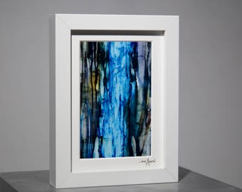 Blue & Black Framed Print on Metal, Modern Metal Art, Contemporary Shelf Accent, Framed Desk Decor, Stocking Stuffer, Gift by Jon Allen - F