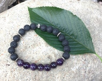 Amethyst Bracelet with Lava Stone. Lava Rock, Aromatherapy Bracelet. Infuse with essential oils. Genuine Gemstones or Semiprecious Stones