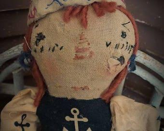 MUSTARD SEED ORIGINALS, Sailor, Sail, Summer, Boat, Anchor, Raggedy Ann, Blue, White, Doll by Sharon Stevens