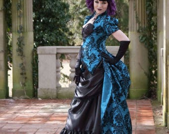 Gothic Dress | Cerulean Dreams | Custom Made, Victorian Dress, Corset Costume, Blue Wedding Dress, Masquerade Ball Gown, Steampunk Dress