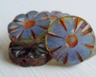 Czech Glass Beads 13mm Coin Beads Light Milky Light Sapphire Picasso - Picasso Czech Beads - 6 pcs (G - 529)