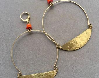 Brass Modern circle Shaped Crecent moon Hoop Earrings - Statement Earrings - minimalist Earrings - brass hoops - red white heart beads E005