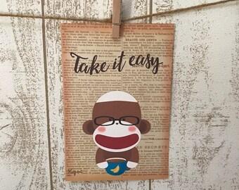 Take It Easy Sock Monkey Postcard - Set of 5 cards, Sock Monkey Print, Sock Monkey Cards