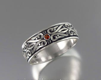 Mens Wedding Band PRINCE CHARMING sterling silver unisex band with Garnet