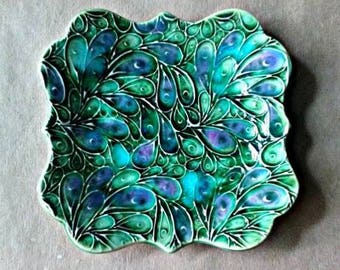 Ceramic Trinket Dish Soap Dish Jewelry Dish Peacock Green with blue edged in gold