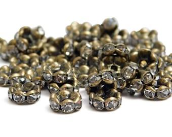 8mm - Rhinestone Spacers - Rhinestone Rondelle - Bronze Spacer Beads - Antique Bronze - Bronze Spacer Beads (B482)