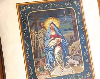 MADONNA NEEDLEPOINT Kit Vintage Sunset Our Lady & Child Manger Christmas Sealed