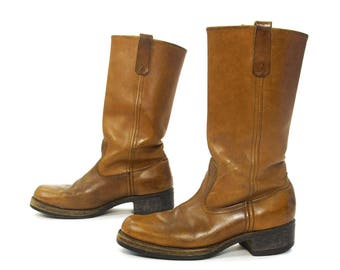 70s Brown Leather Campus Boots Vintage 1970s Classic Biker Western Equestrian Cowboy Tall Knee High Pull On Stovepipe Boots Women's 9.5