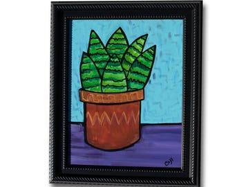 Haworthia Painting - Succulent Art - Succulent Lover Gift - Framed Haworthia Variegated in Brown Pot Still LIfe Painting by Claudine Intner