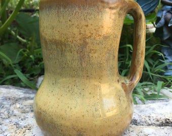 giant big huge glossy beige and green mug