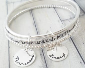 personalized bangle-bangle bracelet- stacked bangles- personalized stacking bangles- personalized bracelet- her children arise and call her