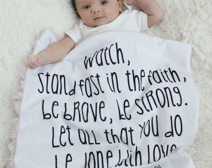 Custom Baby Blanket scripture bible verse custom words quote faux fur minky lovey baby gift cloud blanket llama newborn gift plush photo