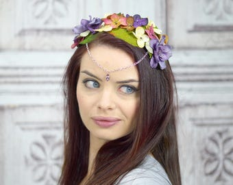 Floral Crown Diadem, Woodland Circlet, Flower Crown, Fairy Crown, Elven Headdress, Costume Headpiece, Purple and Ivory Flowercrown, Headband