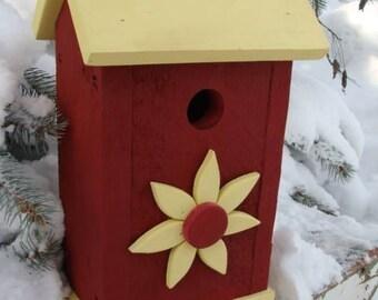 Red Wood Birdhouse Outdoor Bird House Garden Decor Art Functional Birdhouses