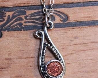 Zircon necklace, zircon jewelry, oxidized silver necklace, boho necklace, plume peacock feather necklace, peacock necklace, ready to ship