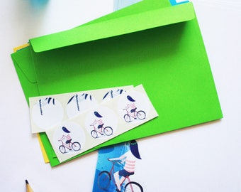 Fireflies by night and bicycle writing paper set - Illustrated writing paper set with envelopes and assorted stickers