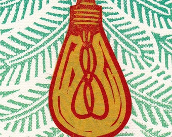 Lightbulb Christmas Lights ACEO ATC Miniature Art Stamp Linocut