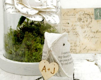 4th Wedding Anniversary Natural Linen  Bird featuring the poem I carry your heart Check processing and delivery times
