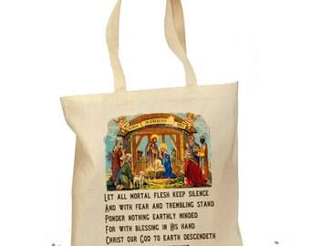 """Christmas Gift Bag - Catholic Tote Bag - Christmas Nativity - """"Let All Mortal Flesh Keep Silence"""" - Traditional Catholic - Vintage Latin Bag"""