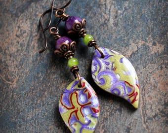 Bohemian artisan dangle earrings. Colorful boho earrings. Handmade beads, purple green, lime lavender. Lightweight earrings.