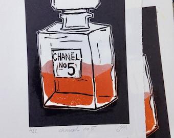 Chanel No 5. Linoprint