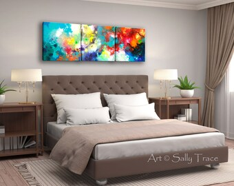 Abstract art triptych, large wall art on canvas, fine art prints of my original abstract acrylic fluid modern pour painting