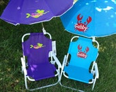 Toddler Kids Childrens Beach Chair and Umbrella Monogrammed Personalized pink purple blue easter lime green