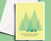 outdoor bicycle wedding card for a special couple, friend