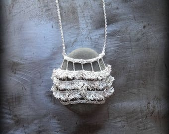 Sale, Artist Necklace, Crocheted Lace, River Stone, Fringed, Gift Original, Latte Foam, Ruffled, Handmade, Nature, Unique, Bohemian, Monicaj