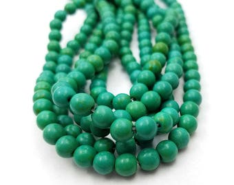 56 Teal Green Howlite Beads 8MM round (H7096)