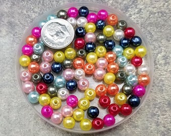 100 Acrylic Pearl Beads 6MM Mixed Color (H2547)