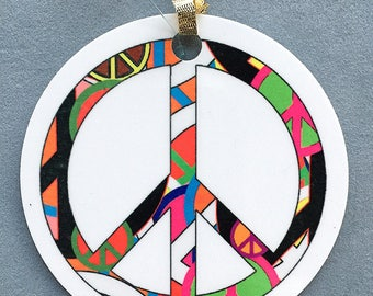 Peace On Earth Ornament - Round Aluminum Circle Holiday Christmas Tree Ornament - Peace Sign Ornament