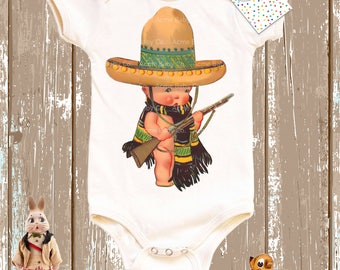 Baby Gift, Soldier Onesie, Birthday Gift, Mexican Onesie, Organic One Piece, Organic Onesie, Retro Baby, Retro Bodysuit, Mexican Soldier