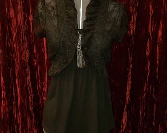 Black Lace Shrug Bolero Ruffled Top, Size Small, Gothic Goth Lolita Steampunk Witchy