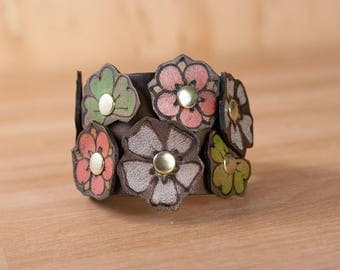 Leather Bracelet - Womens Cuff in the Flower Garden with Riveted flowers - Boho Leather Bracelet in pink, green, white and antique black