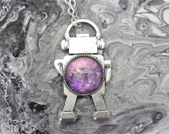 Double Sided Robot Necklace Made with Paint in Swirled Purple