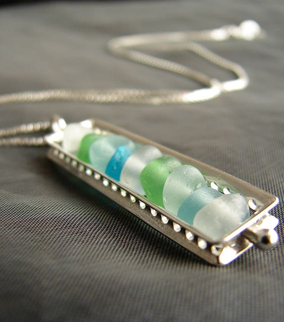 The Mariner sea glass necklace in aqua, green and white