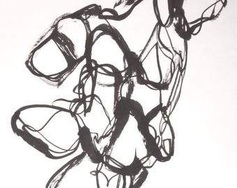 abstract figure, sumi Ink on rice paper, original painting,