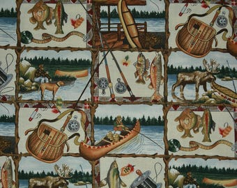 NOVELTY fabric quilt fabric Fishing Camping Scouting Alexander Henry OOP 1996