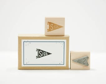 Sigh Banner Rubber Stamp
