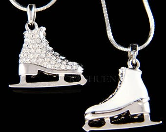 Swarovski Crystal 3D Ice Skating Hockey Shoes figure Skates Girls Double Sides Pendant Chain Necklace Coach Best Friends Christmas Gift New
