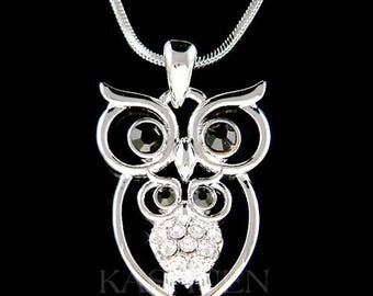 Swarovski Crystal Mother Baby Mom Wise Teacher Student hoot OWL Bird Pendant Chain Necklace Jewelry Christmas Valentine's Day Mother's Gift