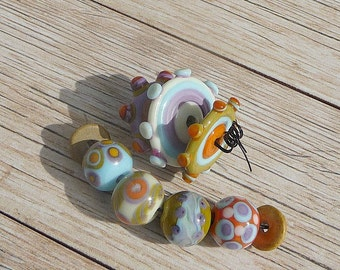 Handmade Lampwork Glass bead Set Mardi gras Fun beads Disc beads Round beads Multi-color beads Artisan bead Generationslampwork SRA