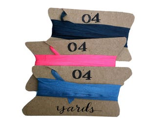 Pure Silk Ribbon, 4 yards, 1/4 inch Narrow Silk Ribbon, Choice of 3 Colors: Dark Charcoal, Watermelon Taffy or Steel Blue Gray