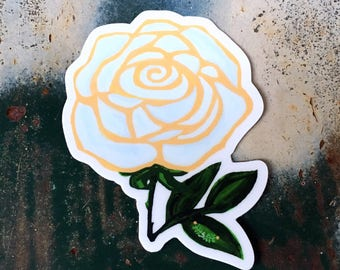 Rosa Crema, Vinyl Rose Sticker - Creamsicle White Rose Flower Sticker, Tattoo Style Art, Floral Laptop Sticker