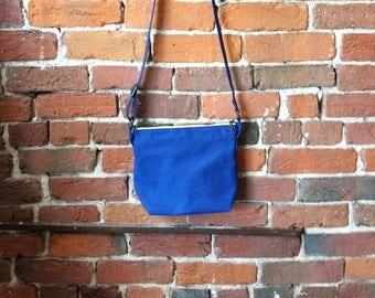 Royal Blue Crossbody Canvas Bag - Zipper Closure Purse Screen-printed