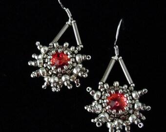 Snowflake Earrings, Starburst Earrings, Silver Earrings, Swarovski Rivoli, Seed Bead Earrings, Crystal Earrings, Bridal Earrings,
