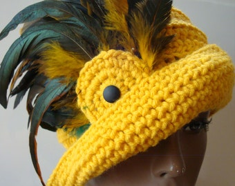 Yellow Fether Cap - Gold - Hat - Feathers - Custom Colors